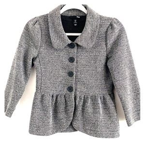 H&M tweed blazer with Peter Pan collar.